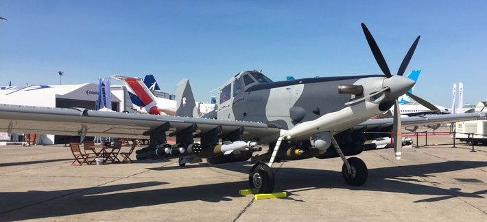 An L3 Longsword attack plane at the 2017 Paris Air Show. L3 Technologies and Harris announced on Oct. 14 that they plan to merge by mid-2019.