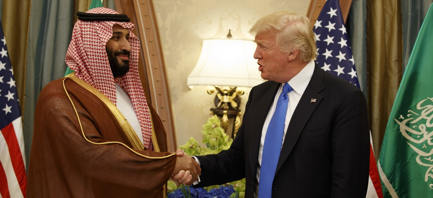 In this May 20, 2017 photo, President Donald Trump shakes hands with Saudi Deputy Crown Prince and Defense Minister Mohammed bin Salman in Riyadh.