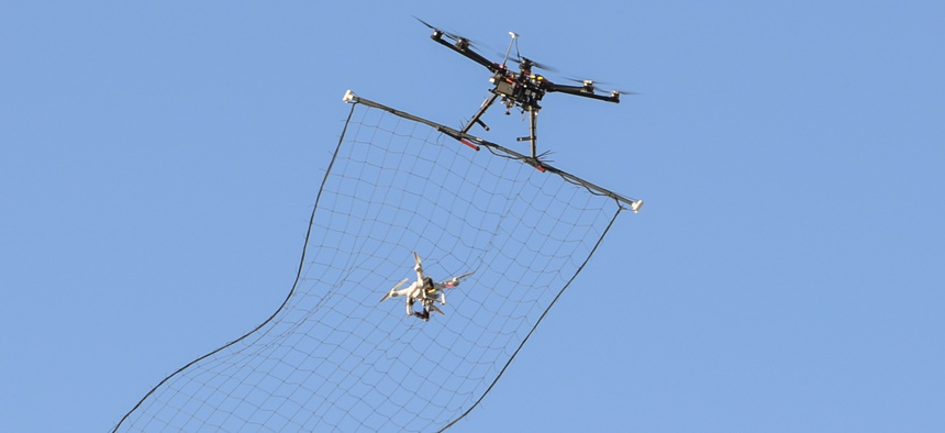 Drone-hunting during the 2016 Air Force Research Laboratory Commanders Challenge at the Nevada National Security Site in Las Vegas.