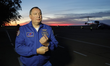 Director General of the Russia state corporation Roscosmos Dmitry Rogozin walks in Baikonur airport after a rescue operation for NASA astronaut Nick Hague and Russian cosmonaut Alexey Ovchinin after an emergency landing, in Kazakhstan, Oct. 11, 2018.