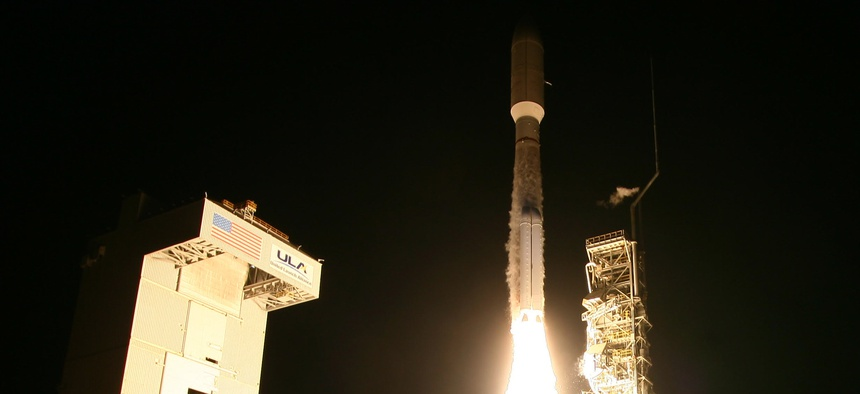 A United Launch Alliance Atlas 5 rocket carrying the classified NROL-42 satellite lifts off from Vandenberg Air Force Base in California in September 2017.
