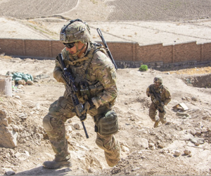 Soldiers with the 3rd Infantry Division provide extra security for a 1st Security Force Assistance Brigade advisor mission during an Afghan-led operation near Kabul, Afghanistan, Sept. 16, 2018.