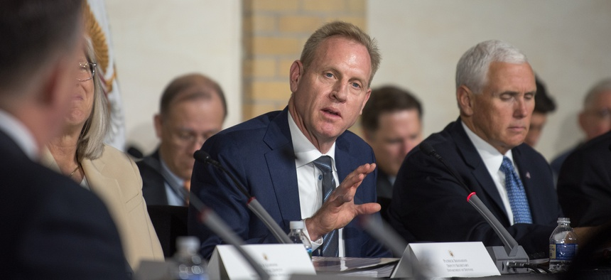 Deputy Defense Secretary Patrick Shanahan speaking at an Oct. 23 meeting of the National Space Council.