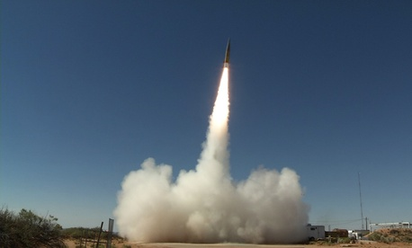 A Sabre short-range ballistic missile launches in June 2017 at White Sands Missile Range, New Mexico, for a test of the Patriot Advanced Capability-3 (PAC-3) Missile Segment Enhancement, an advanced missile defense system.