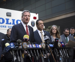 Mayor Bill de Blasio delivers remarks during a press conference after NYPD personnel removed an explosive device from Time Warner Center Wednesday, Oct. 24, 2018, in New York.