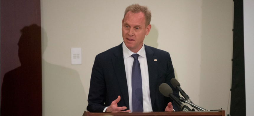 U.S. Deputy Secretary of Defense Patrick M. Shanahan speaks to members of the Military Reporters and Editors Association during their annual convention at the Navy League Building in Arlington, Va., Oct. 26, 2018.