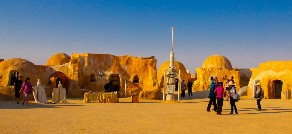This is a photo of the set of Tatooine in the Sahara Desert in Tunisia. The Army's new Tatooine training center will be in Fort Gordon, Georgia.