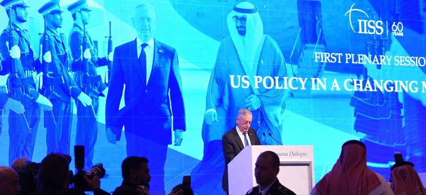 Secretary of Defense Jim Mattis stopped short of blaming Saudi Arabia for Washington Post columnist Jamal Khashoggi's murder, in his keynote speech at the Manama Dialogue, in Bahrain, Oct. 27, 2018.