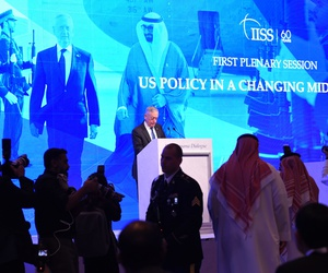 Secretary of Defense Jim Mattis stopped short of blaming Saudi Arabia for Washington Post columnist Jamal Khashoggi's murder, in his keynote speech at the Manama Dialogue, in Bahrain, Oct. 27, 2018.