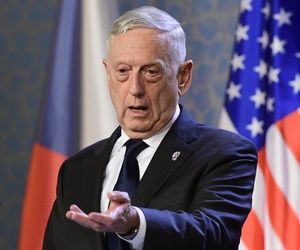 U.S. Defense Secretary Jim Mattis, talks to journalists during a press conference with Czech Prime Minister Andrej Babis, not shown, in Prague, Czech Republic, Sunday, Oct. 28, 2018.