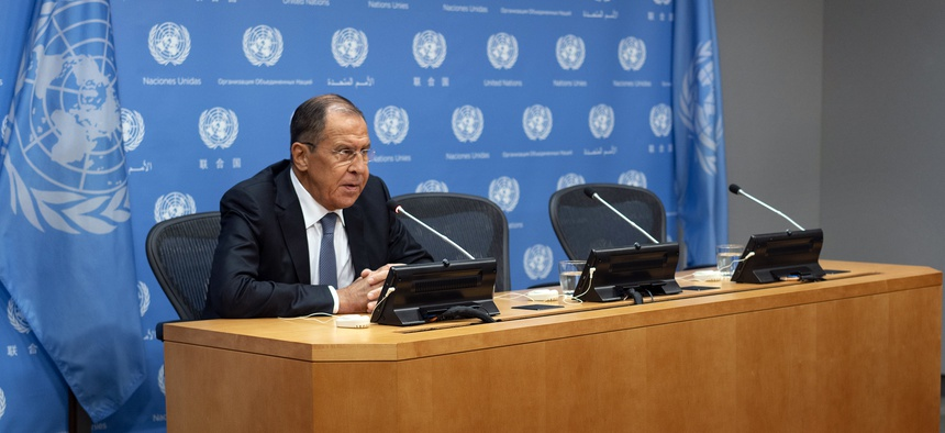 Russia's Foreign Minister Sergey Lavrov speaks during news conference at the 73rd session of the United Nations General Assembly, at U.N. headquarters, Friday, Sept. 28, 2018.