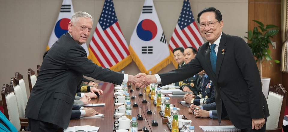 Secretary of Defense Jim Mattis meets with Song Young-moo, minister of national defense for the Republic of Korea, in Seoul, South Korea, June 28, 2018.