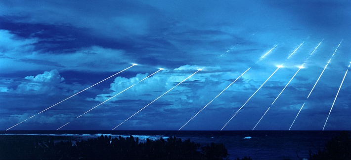 Among the weapons retired by the 2002 SORT agreement was the LGM-118A Peacekeeper missile, seen here being tested at the Kwajalein Atoll in the Marshall Islands.