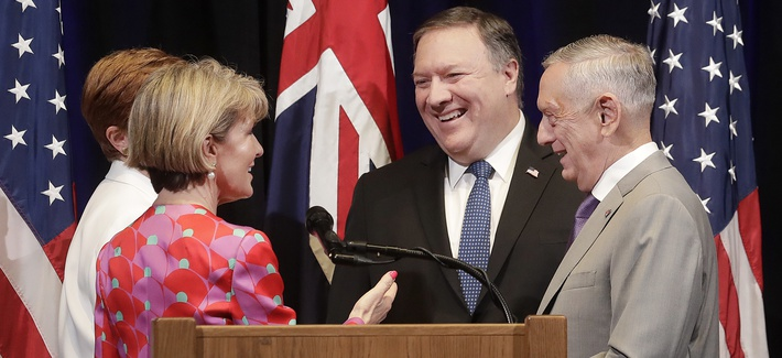 U.S. Sec. of State Mike Pompeo and U.S. Sec. of Defense Jim Mattis greet Australia Foreign Affairs Minister Julie Bishop and Australia Minister for Defense Marise Payne after a Australia-U.S. Ministerial Consultations conference July 24, 2018.