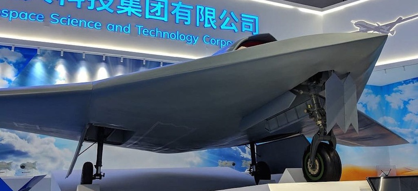 A mockup of the Chinese CH-7 combat drone on display at the  Zhuhai airshow this week.