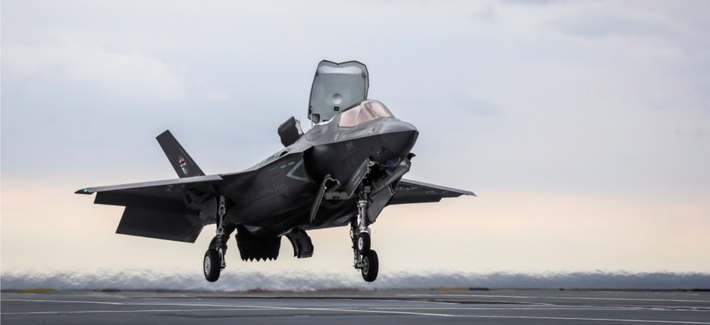 The first ever Shipborne Rolling Vertical Landing (SRVL) has been carried out with an F-35B Lightning II joint strike fighter jet conducting trials onboard the new British aircraft carrier, HMS Queen Elizabeth.