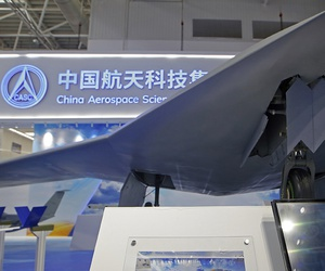 China's new-generation stealth unmanned combat aircraft prototype, the CH-7, is displayed during the 12th China International Aviation and Aerospace Exhibition.
