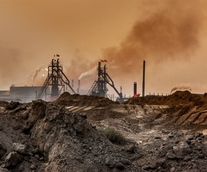 An industrial plant pollutes the air and produces hazardous waste in Baotou, Inner Mongolia, China.