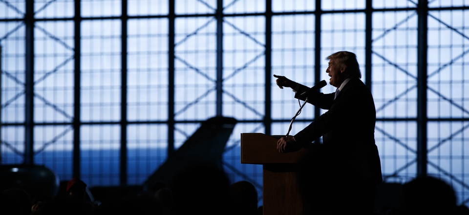 Republican presidential candidate Donald Trump speaks during a campaign rally at Wings Over the Rockies Air and Space Museum, Friday, July 29, 2016, in Denver.