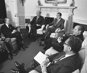 President Richard Nixon and Secretary of State William P. Rogers meet at the White House in Washington on May 21, 1971 with delegates to the Strategic Arms Limitation Talks.