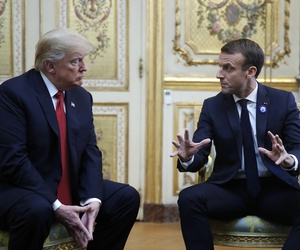 President Donald Trump meets with French President Emmanuel Macron inside the Elysee Palace in Paris Saturday Nov. 10, 2018.