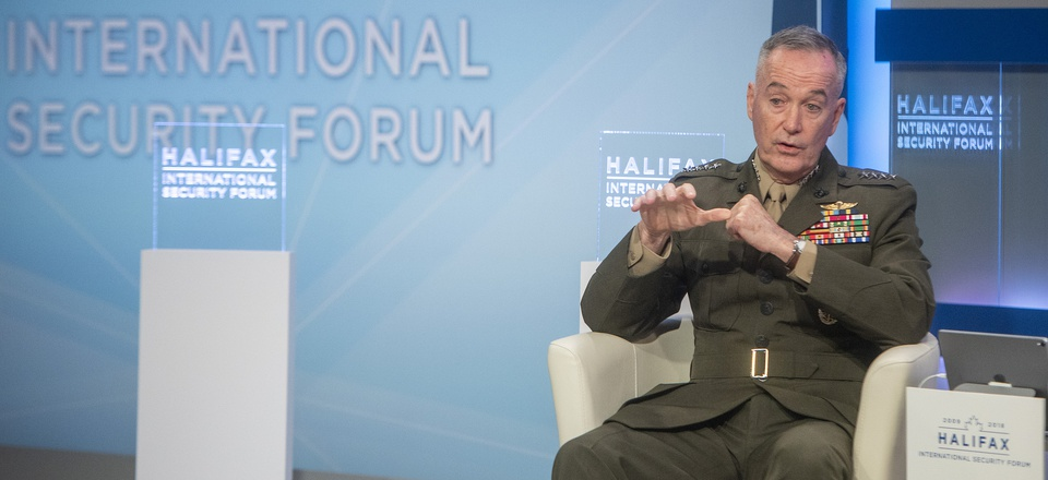 Joint Chiefs Chairman Gen. Joseph Dunford at the Halifax International Security Forum Nov. 17, 2018, in Canada.