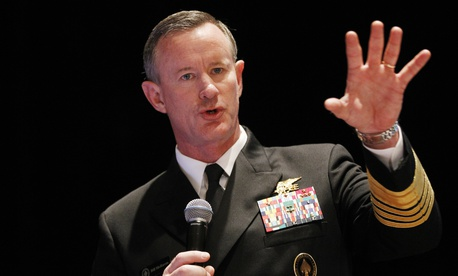 Navy Adm. Bill McRaven, commander of the U.S. Special Operations Command, addresses the National Defense Industrial Association (NDIA), in Washington, Tuesday, Feb. 7, 2012