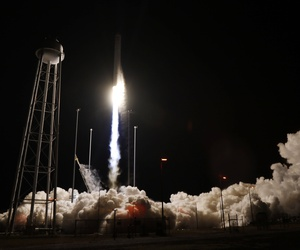 Northrop Grumman Antares rocket lifts off from the launch pad at NASA's Wallops Flight Facility in Wallops Island, Va., Saturday, Nov. 17, 2018.