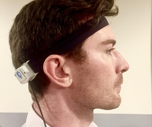 Inventor Sam Owen shows of the OtoTech, a device that prevents motion sickness by sending subtle vibrations through the inner ear to the brain.
