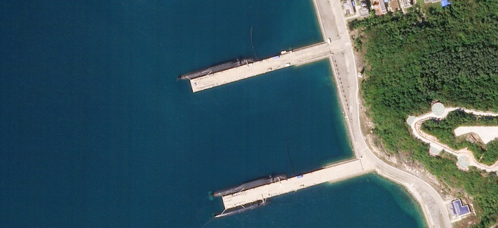 The Longpo Chinese naval facility displaying multiple JIN class submarines, on the 16th of November, 2018.