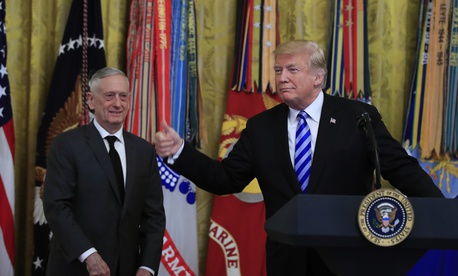 President Donald Trump with Defense Secretary Jim Mattis.