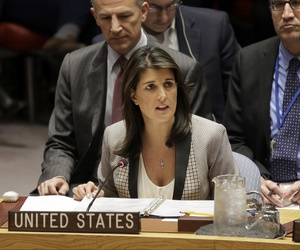 United States Ambassador to the United Nations Nikki Haley speaks during a security council meeting about the escalating tensions between the Ukraine and Russia at United Nations headquarters, Monday, Nov. 26, 2018.