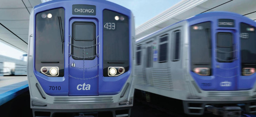 An artist's rendering of the exterior of the CSR Sifang America 7000 Series rail cars.