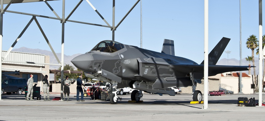 An F-35 at Nellis Air Force Base, Nev. The Air Force Small Business Innovation Research program paid a small business to create an F-35 abrasion-resistant coating that lasts 20 times as long as a previous coating.