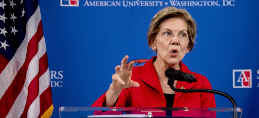 Sen. Elizabeth Warren, D-Mass., speaks at the American University Washington College of Law in Washington, Thursday, Nov. 29, 2018, on her foreign policy vision for the country.