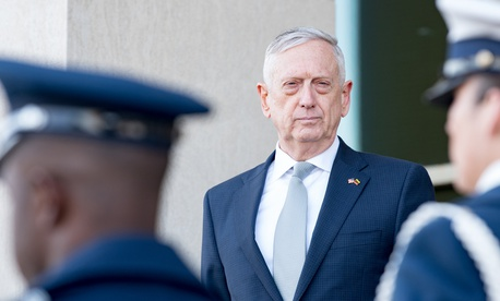 U.S. Secretary of Defense James N. Mattis meets with Lithuania's Minister of National Defence Raimundas Karoblis at the Pentagon.