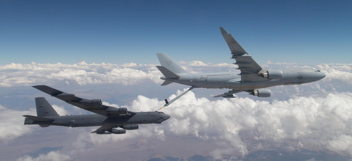 A Royal Australian Air Force KC-30A Multi Role Tanker Transport refuels an Edwards B-52 Stratofortress over California in 2017.