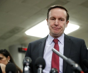 Sen. Chris Murphy, D-Conn., pauses while speaking to members of the media after leaving a closed door meeting about Saudi Arabia, Wednesday, Nov. 28, 2018, on Capitol Hill in Washington.