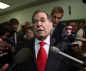 Rep. Jerrold Nadler, D-N.Y.,  is met by reporters as her arrives for testimony by former FBI Director James Comey behind closed doors on Capitol Hill on Friday.