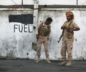 Two Yemeni soldiers stand guard in Mukalla, Yemen, Thursday, Nov. 29, 2018.