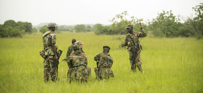 U.S. Army Africa troops train with regional allies during the United Accord 2018 exercise in Accra, Ghana, July 16, 2018.