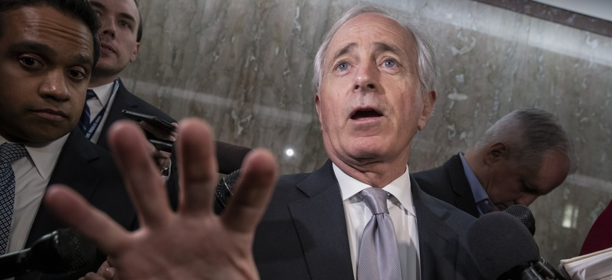 Senate Foreign Relations Committee Chairman Bob Corker, R-Tenn., tells reporters that senators are considering multiple pieces of legislation in an effort to formally rebuke Saudi Arabia for the slaying of journalist Jamal Khashoggi, on Capitol Hill.