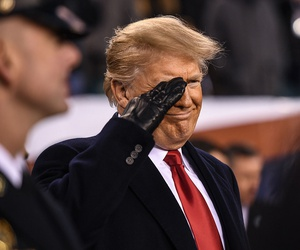 President Donald Trump renders a salute during the 119th Army-Navy Game in Philadelphia on Dec. 8.