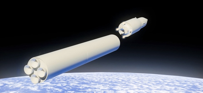 In this video grab file photo provided by RU-RTR Russian television via AP television on Thursday, March 1, 2018, a computer simulation shows the Avangard hypersonic vehicle being released from booster rockets.