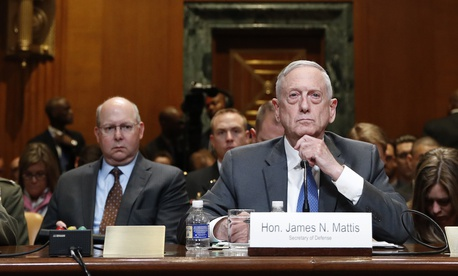 Defense Secretary Jim Mattis testifies to a Senate Appropriations subcommittee hearing on the 2019 budget on May 9, 2018.