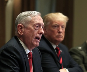 From left, Defense Secretary Jim Mattis speaks during a briefing with President Trump and senior military leaders in the Cabinet Room at the White House in Washington, Tuesday, Oct. 23, 2018.