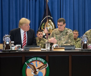 "President Donald Trump discusses current military operations with Gen. Joseph Votel, commander of U.S. Central Command Commander, and Gen. Raymond A. ""Tony"" Thomas, U.S. Special Operations Command Commander at MacDill, AFB, FL, Feb. 6, 2017."