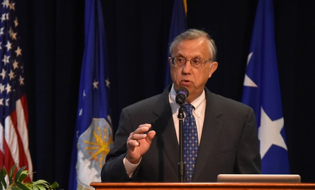 Shay Assad, the Pentagon's Director of Defense Pricing, speaks to the audience at the SMC's 2017 Space Contracting Executive Forum at Los Angeles Air Force Base in El Segundo, Calif., Aug. 23, 2017.