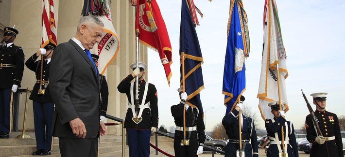 Defense Secretary Jim Mattis walks down the steps of the Pentagon, Wednesday, Dec. 19, 2018.