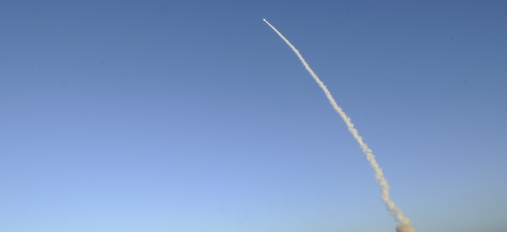 An unarmed LGM-30G Minuteman III intercontinental ballistic missile launches during an operational test at Launch Facility-4 on Vandenberg Air Force Base, Calif., in 2014.